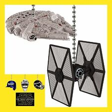STAR WARS MILLENNIUM FALCON & A FIRST ORDER TIE FIGHTER CEILING FAN PULL SET -P2