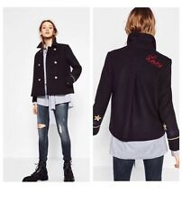 NWT ZARA Navy Blue Nautical Military DOUBLE BREASTED WOOL COAT JACKET PATCH LOVE