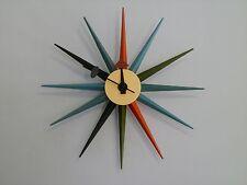 Modern Design Retro Multi Colour Sunburst Star Wall Clock George Nelson Replica