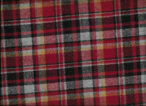 4-1/4 Yards of Plaid Wool Fabric with a red, gray and black plaid