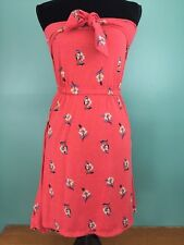 Women's Junior's Floral Print Knit Dress - Size XS - Red w/ Tie Accent