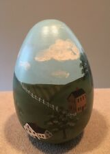 Hand Painted Country Theme Decorative Egg 4.5�H Signed Cheryl Wrin 1992