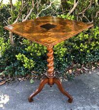 Antique French Barley Twist Mahogany Flip Top Game Table Wine Table Mid 1850's