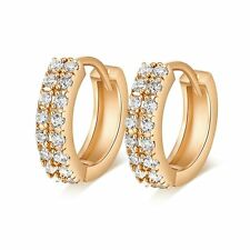 Womens  Gold Filled 2 Rows Clear Rhinestone Hoop Earrings Lot Free Shipping