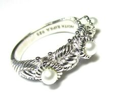 JUDITH RIPKA Sterling Silver and Pearl Ring 6.0 grams size 8 lot 29b7