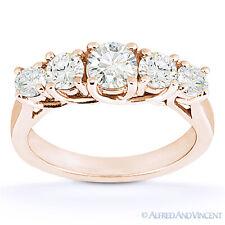 Round Cut Moissanite Anniversary Ring 14k Rose Gold 5-Stone Trellis Wedding Band