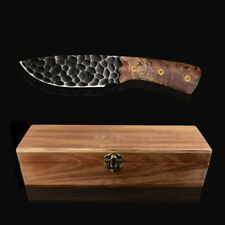 Collectible Hunting Knife Fixed Dragon Blade Forged Steel Wood Handle W/ Sheath