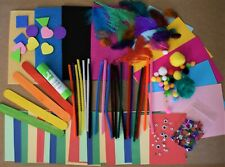 Child Kids Mini Colourful Art & Craft Kit Materials Set Card Paper Pom Bundle