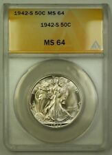 1942-S US Walking Liberty Silver Half Dollar 50c Coin ANACS MS-64 (Better)