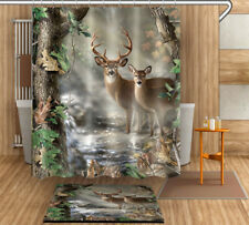 Forest Deers Shower Curtain Set 180CM Waterproof Bathroom Curtains Decor Mat