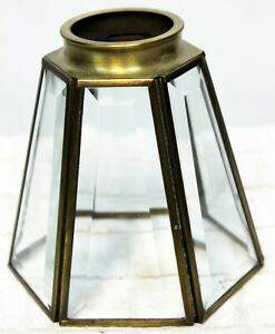 """Clear 6-sided Faceted Glass Small Lamp Shade Brass Ceiling Fan 5"""" Tall Brushed"""