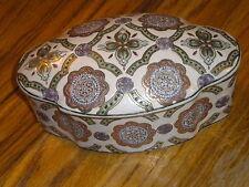 Large Trinket Dresser Box Hand Painted & Crafted Embossed Raised Textured W/ Lid