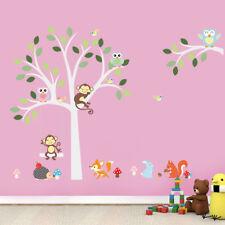 Vinilos decorativos infantiles árbol blanco con animales. DOCLIICK DC-ZY1224-17