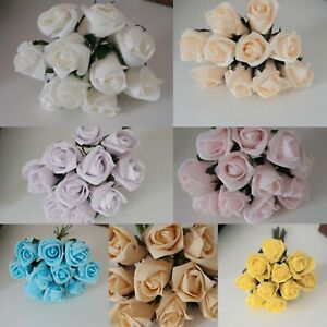3.5cm Foam Roses - Bunch of 10 Artificial Wedding Bouquet Colourfast Flowers