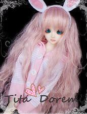 1 4 7-8 BJD Parrucca MSD DOC SD DZ DOD LUTS Dollfie Doll wavy pink 18-19CM