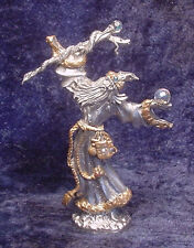 Pewter Wizard w/ Colorful Crystals , Snake around Staff