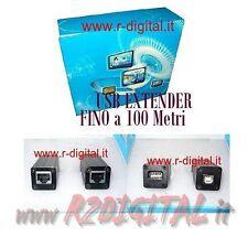 CAVO PROLUNGA USB 2.0 EXTENDER FINO 100 METRI CON CAVO LAN RJ45 RETE COMPUTER