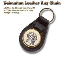 Dalmatian Brass and Leather Dog Key Ring