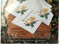 Bucilla Christmas Music Stamped Cross Stitch Napkins Kit - 8 Holiday Napkins