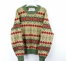 Vintage 80s Mens Small Southwestern Navajo Print Long Sleeve Crewneck Sweater