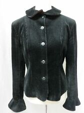 KENZO FRANCE sz 40/10 BLACK STRIPED VELOUR 100% COTTON  FITTED  CROPPED JACKET