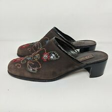 Brighton Fiona Brown Suede Embroidered Floral Mules Shoes Block Heels Womens 9.5