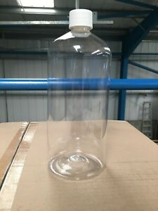 1 Litre Clear PET Oil Bottles with White 28mm Cap Included