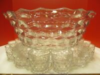 "AMERICAN FOSTORIA 18"" PUNCH BOWL w/12 PUNCH CUPS"