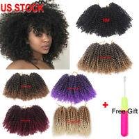 3pcs/set 8'' Synthetic Mali Bob Curly Afro Twist Crochet Braids Hair US STOCK