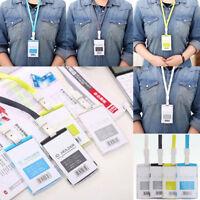 Plastic ID Card Badge Holder Pocket With Detachable Neck Strap Lanyard
