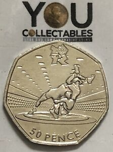 Olympic 50P Wrestling Fifty Pence coin 2011 - FREE DELIVERY