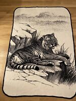 "San Marcos Blanket Tiger On Rock Ledge Black & White Reversible 58""x84"" Vintage."