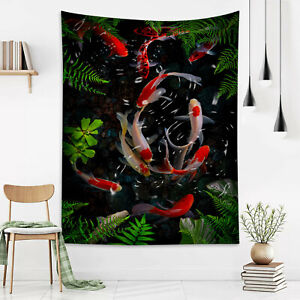 Pond Fish Tropical Green Leaf Plants Tapestry Wall Hang Living Room Bedroom