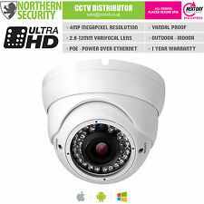 Cámara De Seguridad 4MP 2.8-12mm 1080P P2P Onvif 30M Ir Domo Blanco De Audio Poe IP Cctv
