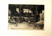 Gravure originale de Chandler, Atelier d'artisans