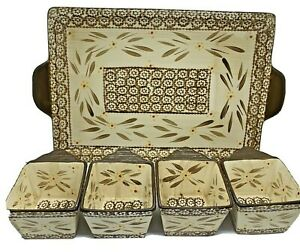 Temp-Tations By Tara Old World Brown Appetizer Tray & 4-10oz Condiment Bowls