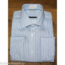 MENS M&S SHIRTS Performance Pure Cotton Fine Striped SLIM FIT Shirt double cuff