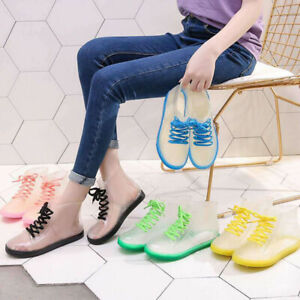 Womens Ankle Strap Rain Boots Transparent Waterproof Rubber Slip Resistant Shoes