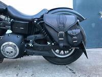 DYNAMITE BLACK Leder HD Harley links Seitentasche Gepäcktasche Werkzeugtasche
