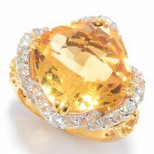 Meher's Jewelry 8.38ctw Checkerboard Cut Gemstone & White Zircon Ring Size 6 & 7