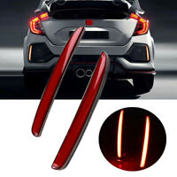 LED Rear Fog Lamp Brake Light Bumper Reflector For Honda Civic Hatchback 17-2018