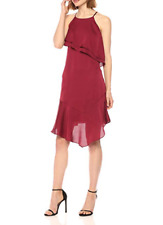 BEBE RED SLIP DRESS 4 Satin Spaghetti Strap Wine Ruffle 90s Trend Party Cocktail
