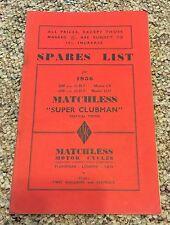 1956 AMC MATCHLESS SUPER CLUBMAN 500CC & 600CC SPARES LIST BOOKLET