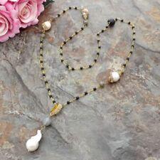 Labradorite Onyx White Keshi Pearl CZ Pendant 30'' Necklace