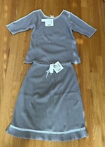 FITIGUES Brand Light Grey/Taupe Cotton Thermal Top and Skirt NWT Medium