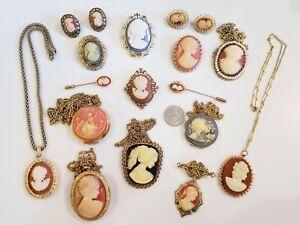 AMAZING Vintage Cameo Jewelry LOT Avon Peri Gerrys
