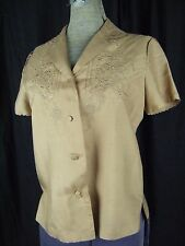 Vtg 70s Light Brown Chinese Floral Embroidery 100% Silk Blouse-Bust 36/S