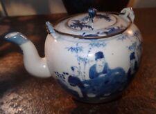 Théière teapot porcelaine CHINE18th bleu blanc personnages