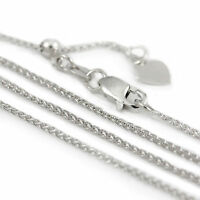 "14k White Gold Adjustable Spiga style Chain Necklace, 24"" (NEW, 3.4g) 2981* PL"