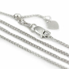 14k White Gold Adjustable Spiga style Chain Necklace, 24 inch (NEW, 3.4g) 2981*